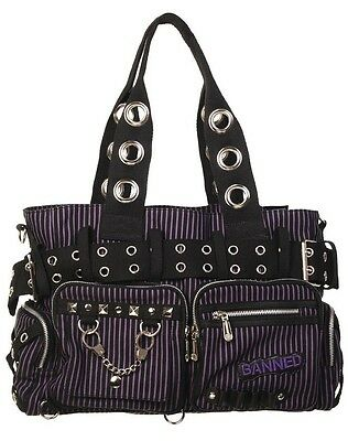 BANNED STRIPED SHOULDER BAG Handcuff Canvas Handbag Gothic Rock Black PURPLE