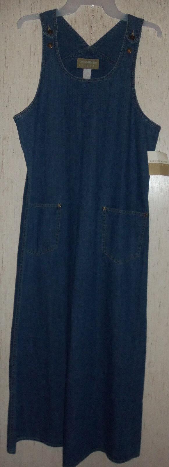 NWT WOMENS Liz Claiborne Lizwear LONG DISTRESSED blueE JEAN JUMPER DRESS  SIZE M