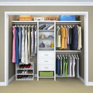 Details about Closet Organizer Kit Wood Shelves Clothing Rods Bedroom  Storage 8 Shelf Durable