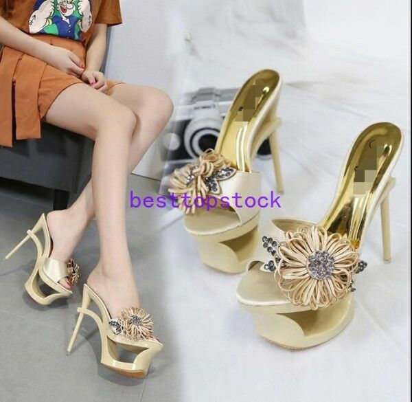Sexy femmes High Slim Heel Sandals Platform Rhinestone Peep Toe chaussures Slippers