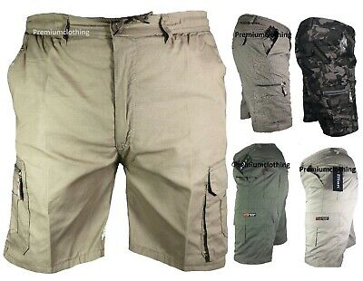 FäHig Mens Plain Elasticated Lightweight Shorts Cargo Combat Multi Pocket Cotton M-3xl