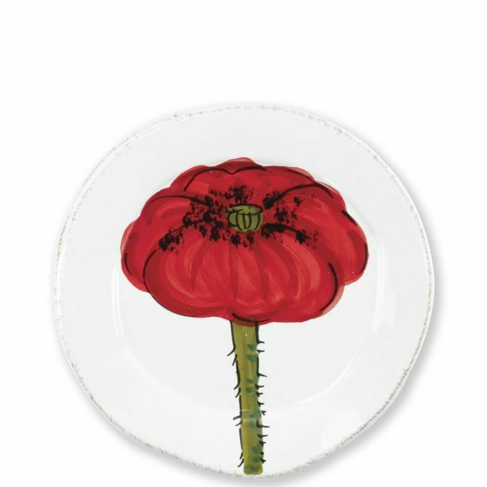 Vietri Lastra Poppy Canape Plaque-Lot de 8