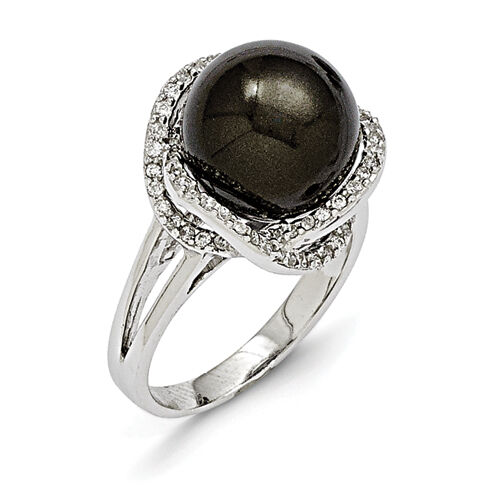 Majestik Ladies 925 Sterling Silver 12-13mm Black Shell Pearl & CZ Ring Size 7
