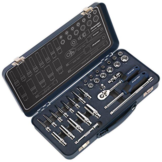 Sealey Premier 32pc 0.6cm Lecteur Serrure sur Douille Set 4-14mm Poignée Cliquet
