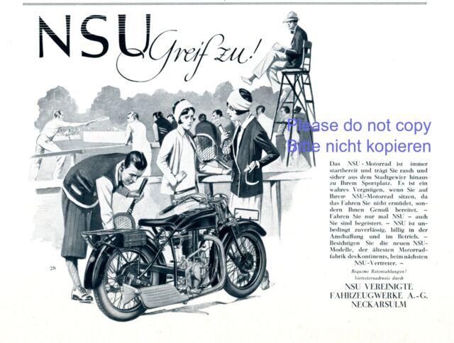 Moto NSU Publicité 1929 tennis court de tennis Sport Publicité +