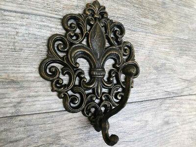 Fleur De Lis Wall Hook Coat Hat Hanger Iron Kitchen Tuscan Saints Nola French Ebay