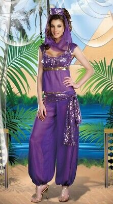 Magic Genie Harem Belly Dancer Purple Fancy Dress Halloween Child Costume 3 pc