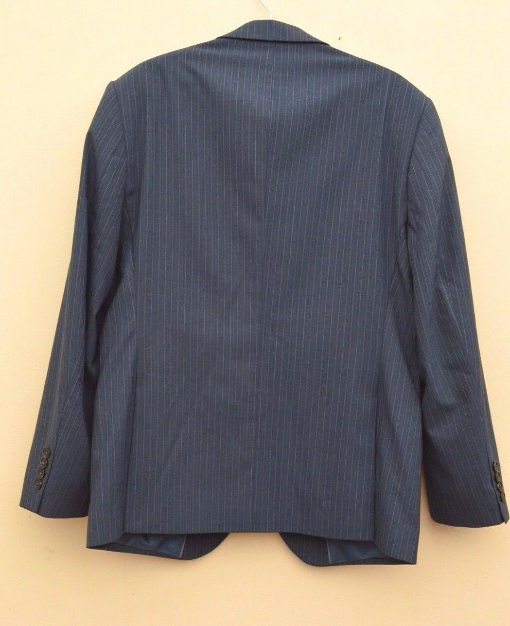 NUOVO M&S Collezione blu gessato lana normale ricca ricca normale Suit Sz 38  torace/34/29 976400