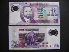MOZAMBIQUE  20 Meticais 16.6.2011  POLYMER  (P149)  UNC