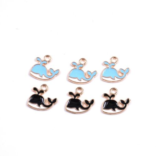 10PC Black//Blue Enamel Whale Fish Charm Pendant 12*13MM For DIY Jewelry Making