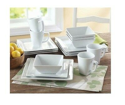 Square Dinnerware Set Service for 4 White 16 Dishes Plates Kitchen Porcelain