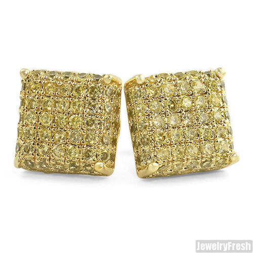 Canary Yellow 3D Iced Out CZ Square Gold Mens Earrings