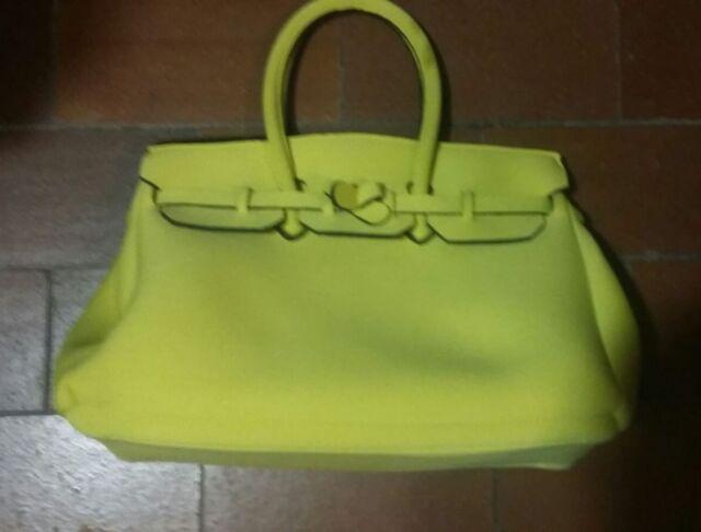 Borsa donna in poliestere 40X28X17, colore giallo, made in italy