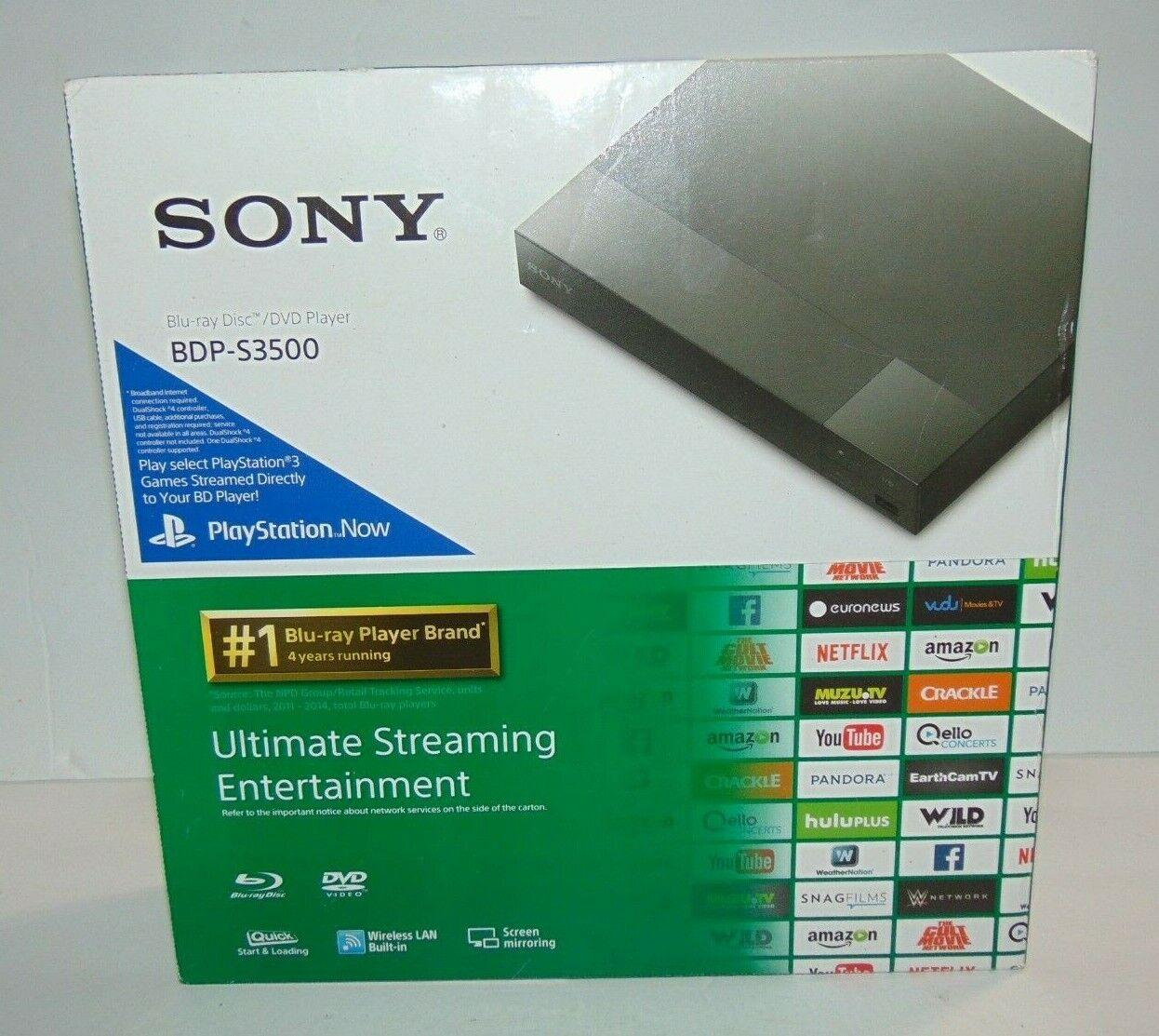 Sony BDP-S3500 Blu-Ray / DVD Player WiFi Streaming Screen Mirroring dvd mirroring player screen sony streaming wifi