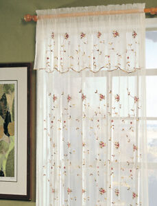 Creative Linens Embroidered Lace Roses Floral Window Curtain Panel Beige 1 Piece 801186547125 Ebay