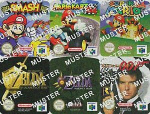 N64-Ersatzsticker-Aufkleber-Sticker-Label-Mario-Zelda