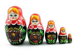 Lot 5 Matryoshka Russian Nesting Dolls Babushka Matroeska Babooshka Poupee 3 Pcs