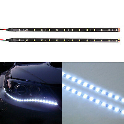 2x Car Motor 12V 5050 30CM-12SMD LED White flexible strips Eyebrow lights Decor