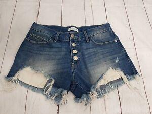 Just USA Womens Jean Shorts Blue Stretch  Distressed Raw Hem Size Medium A-57