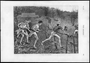 1874-Antique-Print-SPORT-Hare-Hounds-Cross-Country-Fence-Men-Running-238