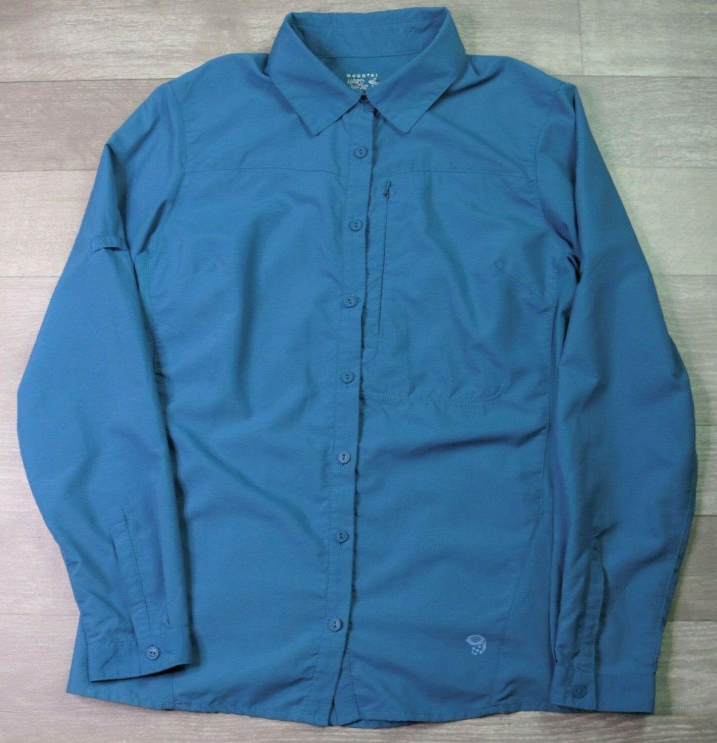 Mountain Hardwear Button Front Blue Hiking Shirt Long Sleeve Top Women's Size XS