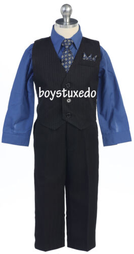 Cute Boy/'s Infant 4 Piece Formal Pinstripe Vest Suit w// Color Dress Shirt /& Tie