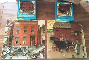2-Vintage-Puzzle-Norman-Rockwell-The-Street-amp-Model-T-Ford-500-Pieces-each