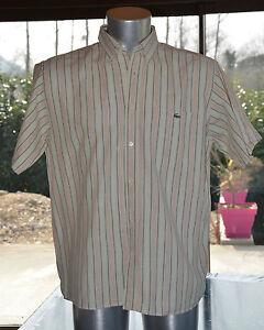 LACOSTE-Tres-jolie-chemise-beige-et-saumon-Taille-41-EXCELLENT-ETAT