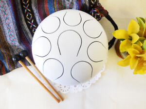 WuYou-8-inch-19cm-Christmas-Gift-Steel-Tongue-Drum-handpan-Pearl-White-F-note