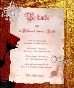 Liebesurkunde Antik Gedicht Mappe Jahrestag Unikat