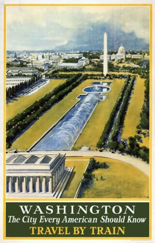 TX259 Vintage 1930/'s Washington By Train American Travel Poster A1//A2//A3//A4