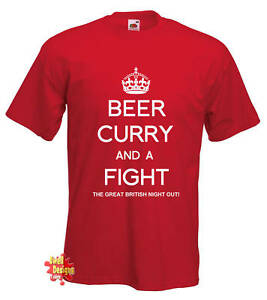 BEER CURRY /& A FIGHT Keep Calm spoof T Shirt all sizes