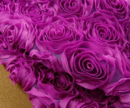 Ausverkauf 3D Rose Braut Abendkleid Chiffon Rand Hochzeit Kostüm DIY Spitze