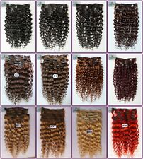 7pcs 100g Curly Wavy Clip In Real Human Hair Extensions Deep Weaving 16''~22''