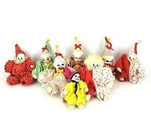 Lot-of-8-Vintage-Porcelain-Ceramic-Face-Clown-Doll-8-034-Sand-Filled-Body-Rare