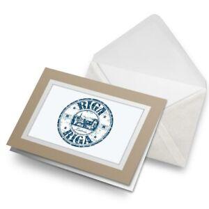 Greetings-Card-Biege-Riga-Latvia-Travel-Stamp-Latvian-5225