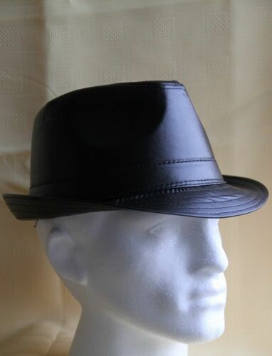 BLACK LEATHER LOOK RETRO TRILBY HAT ska rude boys specials the beat