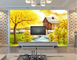 3D Herbst Wald Fluss 785 Tapete Wandgemälde Tapeten Bild Familie DE Summer