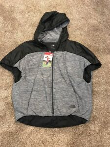 NWT-The-North-Face-Women-039-s-Pseudio-Poncho-Grey-Black-Hooded-Insulated-Small