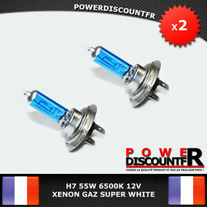 2-Ampoule-Lampe-Halogene-Bluelight-Feu-Phare-XENON-SUPER-WHITE-H7-55W-6500K-12V