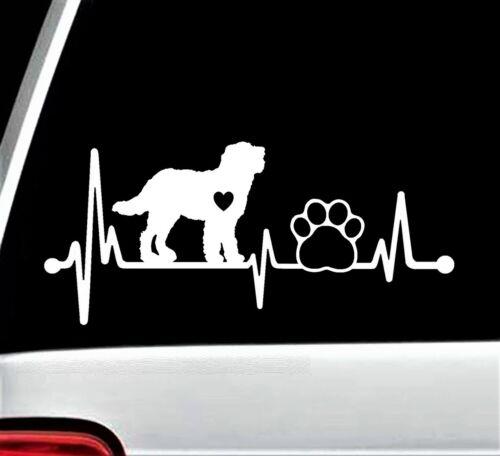 Labradoodle Heartbeat Lifeline Dog Paw Decal Sticker Car Window 8 Inch BG 154