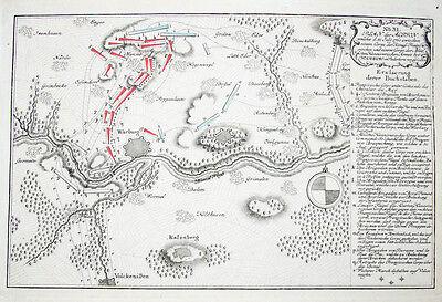 c1760 Warburg Siebenjähriger Krieg Kupferstich-Plan