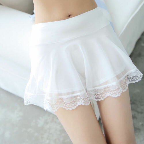 Women Mini Skirt Under Shorts Underwear Floral Lace Pleated Slips Safety Pants