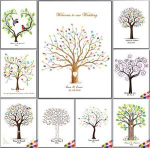 Personalisiert Hochzeit Babydusche Fingerabdruck Baum Gastebuch