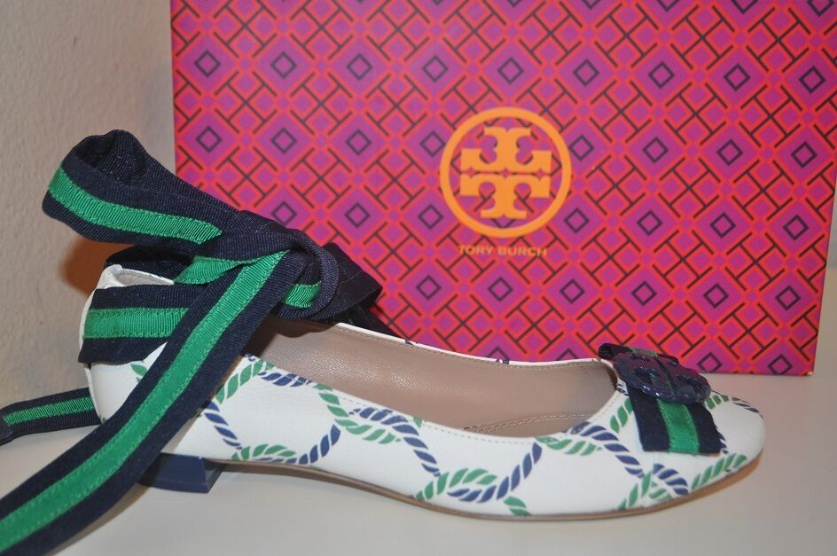NIB Tory Burch Maritime Ankle Wrap Ballet Flat Shoe Isle Ropes  Navy Sea Sz 6 M