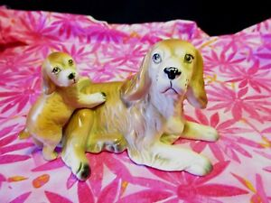 Vintage-Napcoware-Ceramic-Cocker-Spaniel-Dog-Mother-And-Puppy-Figurine-C-5638