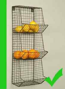 Image Is Loading Rustic Chicken WIRE WALL BASKET Metal Fruit Vegetable