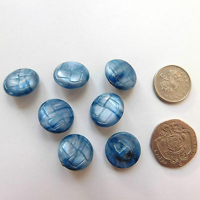 7 vintage buttons 5/8 inch (15 mm) Blue marbled plastic Old haberdashery