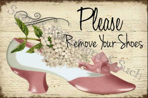 Vintage Wooden Sign Decopouged Please Remove Your Shoes Sign White Hydrangea