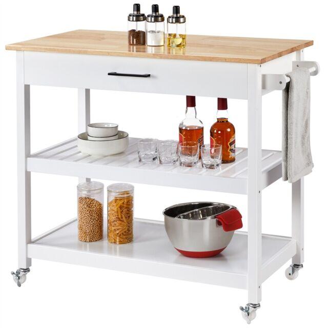 Small Kitchen Island Granite Top Cart Rolling Rack Drawer Storage Counter Basket For Sale Online Ebay